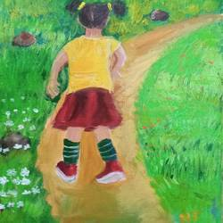 little girl walking down a pathway, 8 x 11 inch, reema pereira,8x11inch,canvas,paintings,children paintings,kids paintings,paintings for dining room,paintings for living room,paintings for bedroom,acrylic color,oil color,GAL02172034051