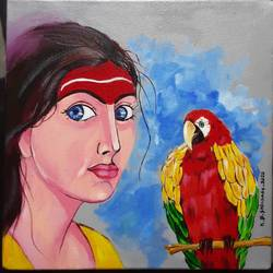 women, 12 x 12 inch, k.b. shikhare,12x12inch,cloth,paintings,acrylic color,GAL0209334055