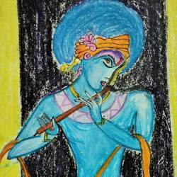 lord krishna, 17 x 12 inch, manika nagpal,17x12inch,thick paper,paintings,radha krishna paintings,paintings for living room,pastel color,GAL02219434061