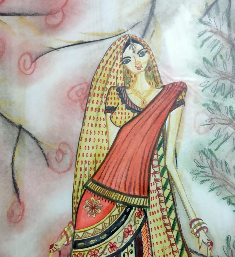 traditional art, 17 x 12 inch, manika nagpal,17x12inch,thick paper,paintings,folk art paintings,paintings for living room,pastel color,GAL02219434063