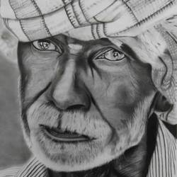 common indian man, 20 x 20 inch, anju agarwal,20x20inch,ivory sheet,paintings,portrait paintings,paintings for hotel,charcoal,GAL02211434065