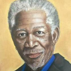 morgan freeman, 14 x 20 inch, anju agarwal,14x20inch,ivory sheet,paintings,portrait paintings,paintings for office,pastel color,GAL02211434066