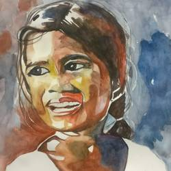 yaadein - childhood memories, 14 x 16 inch, anju agarwal,14x16inch,fabriano sheet,paintings,portrait paintings,paintings for kids room,paintings for hospital,watercolor,GAL02211434067