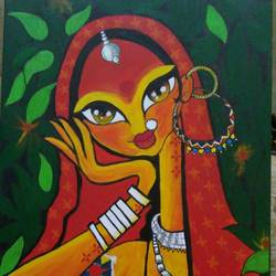 baat - wait for beloved, 20 x 30 inch, anju agarwal,20x30inch,canvas,portrait paintings,paintings for living room,paintings for hotel,paintings for living room,paintings for hotel,acrylic color,GAL02211434069