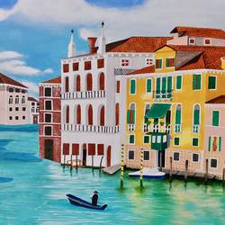 venice, 36 x 24 inch, shrishti aggarwal,36x24inch,canvas,paintings,cityscape paintings,landscape paintings,paintings for dining room,paintings for living room,paintings for bedroom,paintings for office,paintings for hotel,paintings for school,paintings for hospital,acrylic color,GAL01085534087