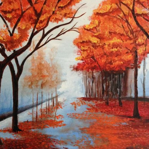 autumn landscape nature painting, 40 x 30 inch, shrishti aggarwal,40x30inch,canvas,paintings,flower paintings,landscape paintings,nature paintings | scenery paintings,paintings for dining room,paintings for living room,paintings for bedroom,paintings for office,paintings for bathroom,paintings for kids room,paintings for hotel,paintings for kitchen,paintings for school,paintings for hospital,acrylic color,GAL01085534090