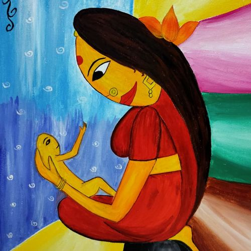 mother and child painting, 15 x 22 inch, manika nagpal,15x22inch,canvas,figurative paintings,paintings for living room,paintings for bedroom,paintings for living room,paintings for bedroom,acrylic color,GAL02219434091