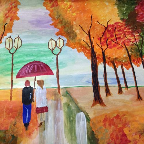 couple walking in rain, 32 x 26 inch, shweta pandey,flower paintings,paintings for bedroom,thick paper,acrylic color,32x26inch,GAL012403410