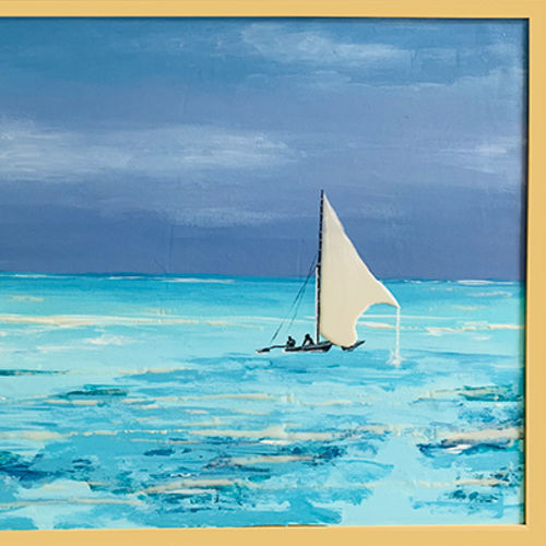 the tranquil sea , 30 x 24 inch, haritha reddy,30x24inch,canvas,paintings,landscape paintings,nature paintings | scenery paintings,acrylic color,enamel color,GAL02222134102