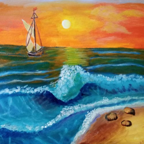 the various hues of sunset, 16 x 12 inch, reema pereira,16x12inch,canvas,paintings,landscape paintings,nature paintings | scenery paintings,paintings for dining room,paintings for living room,paintings for bedroom,acrylic color,GAL02172034108