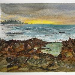 sunset at pacific, california, 9 x 7 inch, anuradha singh,9x7inch,renaissance watercolor paper,paintings,landscape paintings,paintings for dining room,paintings for living room,paintings for bedroom,paintings for office,paintings for hotel,watercolor,GAL02219034109
