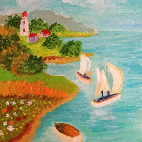 seascape painting with boats, 10 x 12 inch, reema pereira,10x12inch,canvas board,paintings,landscape paintings,nature paintings | scenery paintings,paintings for dining room,paintings for living room,paintings for bedroom,acrylic color,oil color,GAL02172034110