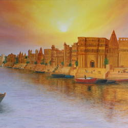 varanasi ganga ghat, 30 x 20 inch, goutami mishra,30x20inch,canvas,paintings,cityscape paintings,landscape paintings,religious paintings,nature paintings | scenery paintings,impressionist paintings,photorealism paintings,photorealism,realistic paintings,paintings for living room,paintings for bedroom,paintings for kids room,paintings for hotel,oil color,GAL046534111