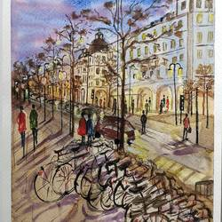 a winter evening , stockholm, 7 x 9 inch, anuradha singh,7x9inch,renaissance watercolor paper,paintings,landscape paintings,paintings for dining room,paintings for living room,paintings for office,paintings for hotel,watercolor,GAL02219034113