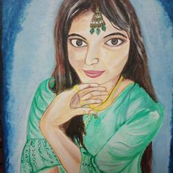 real photo portrait, 15 x 18 inch, tulika  singh,15x18inch,canvas,paintings,photorealism paintings,acrylic color,GAL02159834117