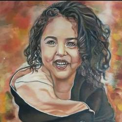 baby girl with the most beautiful smile, anahita, 15 x 22 inch, achla sarin,15x22inch,canvas,portrait paintings,paintings for dining room,paintings for living room,paintings for hotel,paintings for dining room,paintings for living room,paintings for hotel,oil color,GAL02224334123