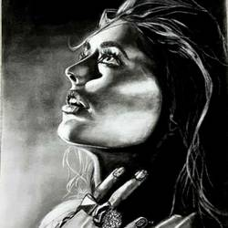 charcoal painting of woman looking up at the sky, 12 x 16 inch, achla sarin,12x16inch,paper,paintings,portrait paintings,paintings for living room,paintings for bedroom,paintings for bathroom,charcoal,GAL02224334125
