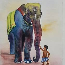 elephant with kid, 8 x 12 inch, vrushali bhutada,8x12inch,brustro watercolor paper,drawings,realism drawings,paintings for living room,paintings for office,paintings for hotel,watercolor,GAL02073234127