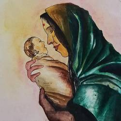 mother's love, 9 x 12 inch, vrushali bhutada,9x12inch,brustro watercolor paper,paintings,conceptual paintings,portrait paintings,paintings for living room,paintings for bedroom,watercolor,GAL02073234128