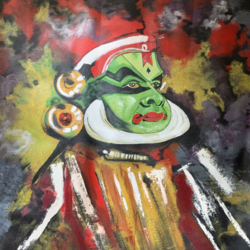 kathakali, 36 x 36 inch, bhairvi chaudhry,36x36inch,canvas,paintings,abstract paintings,figurative paintings,folk art paintings,paintings for dining room,paintings for living room,paintings for bedroom,paintings for hotel,paintings for dining room,paintings for living room,paintings for bedroom,paintings for hotel,oil color,GAL02218334129