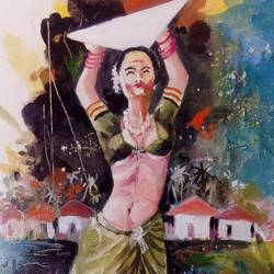 peddler woman, 12 x 24 inch, pandit mulay,figurative paintings,paintings for living room,canvas,oil,12x24inch,GAL04523413