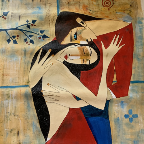 cuddle, 24 x 36 inch, bhairvi chaudhry,24x36inch,canvas,paintings,abstract paintings,figurative paintings,modern art paintings,paintings for dining room,paintings for living room,paintings for bedroom,paintings for hotel,oil color,GAL02218334130