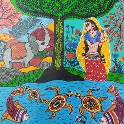madhubani, 18 x 24 inch, jyotismita talukdar,18x24inch,canvas,paintings,minimalist paintings,madhubani paintings | madhubani art,paintings for dining room,paintings for living room,paintings for office,paintings for hotel,paintings for kitchen,paintings for school,paintings for dining room,paintings for living room,paintings for office,paintings for hotel,paintings for kitchen,paintings for school,acrylic color,GAL01662134139