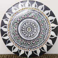 mandala art painting, 14 x 14 inch, shubha shrivastava,14x14inch,hardboard,folk art paintings,paintings for living room,paintings for living room,acrylic color,GAL02221334140