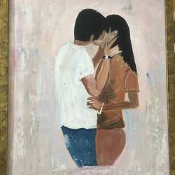 love oil painting, abstract, passion, 13 x 18 inch, uma vasantha,13x18inch,canvas board,paintings,love paintings,paintings for bedroom,oil color,GAL02194034143