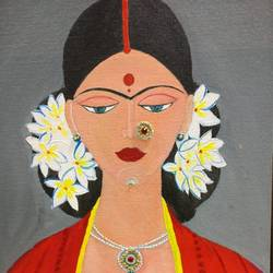 tribal lady painting, 12 x 16 inch, shubha shrivastava,12x16inch,canvas,folk art paintings,paintings for living room,paintings for bedroom,paintings for living room,paintings for bedroom,acrylic color,GAL02221334146
