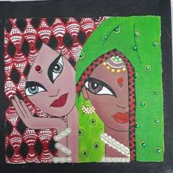 tribal women, 12 x 12 inch, shubha shrivastava,12x12inch,canvas,folk art paintings,acrylic color,GAL02221334148