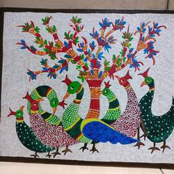 textured gond painting, 18 x 12 inch, shubha shrivastava,18x12inch,canvas,paintings,folk art paintings,acrylic color,GAL02221334149