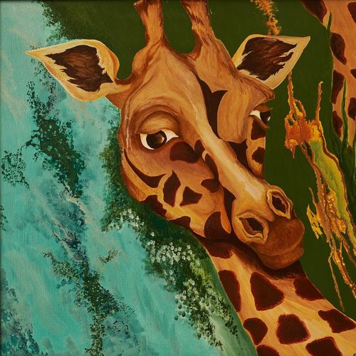 adolescent awakening, 36 x 32 inch, alphonse joseph  pinheiro,paintings for living room,wildlife paintings,animal paintings,canvas,acrylic color,36x32inch,GAL012273415