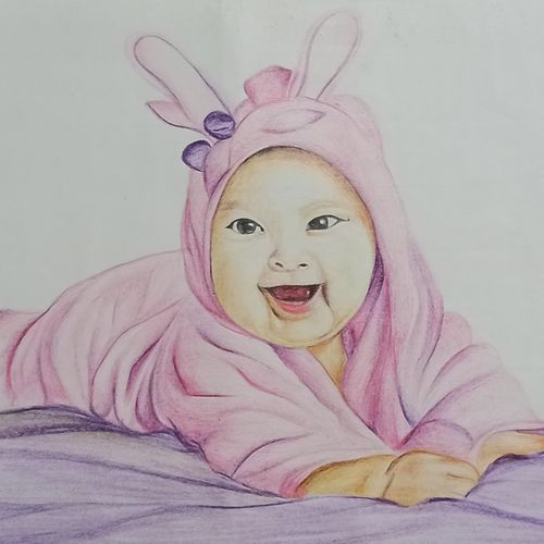 adorable baby, 11 x 8 inch, vrushali bhutada,11x8inch,thick paper,paintings,baby paintings,paintings for bedroom,paintings for kids room,paintings for school,pencil color,GAL02073234150