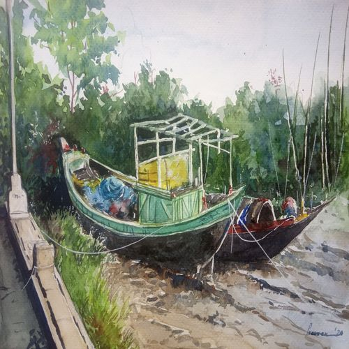 fishing boats in creek, 12 x 8 inch, vinaya pravin,12x8inch,paper,paintings,landscape paintings,paintings for living room,paintings for office,paintings for hotel,watercolor,GAL02227134158
