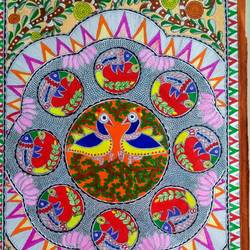 peacocks in orchard, 22 x 15 inch, nimisha kumari,22x15inch,handmade paper,paintings,nature paintings | scenery paintings,animal paintings,madhubani paintings | madhubani art,paintings for dining room,paintings for living room,paintings for bedroom,paintings for office,paintings for hotel,acrylic color,mixed media,GAL02122734162