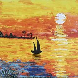 sunset , 12 x 18 inch, sheetal chaudhary,12x18inch,ivory sheet,paintings,abstract paintings,landscape paintings,modern art paintings,nature paintings | scenery paintings,abstract expressionism paintings,paintings for dining room,paintings for living room,paintings for bedroom,paintings for office,paintings for kids room,paintings for hotel,paintings for kitchen,paintings for school,paintings for hospital,acrylic color,GAL01560334171