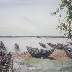 'canoes', 12 x 8 inch, vinaya pravin,12x8inch,paper,paintings,landscape paintings,paintings for living room,paintings for office,paintings for hotel,watercolor,GAL02227134180