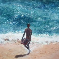 'fisherman', 12 x 8 inch, vinaya pravin,12x8inch,paper,paintings,landscape paintings,paintings for living room,paintings for office,paintings for hotel,watercolor,GAL02227134182