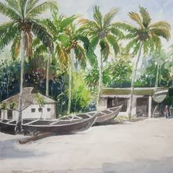 'canoes', 12 x 8 inch, vinaya pravin,12x8inch,paper,paintings,landscape paintings,paintings for living room,paintings for office,paintings for hotel,watercolor,GAL02227134183