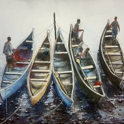 'canoes',  vypin island, kerala, 12 x 8 inch, vinaya pravin,12x8inch,paper,paintings,landscape paintings,paintings for living room,paintings for office,paintings for hotel,watercolor,GAL02227134185