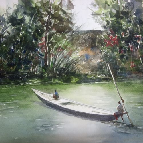 'canoe', asom, 12 x 8 inch, vinaya pravin,12x8inch,paper,paintings,landscape paintings,paintings for living room,paintings for office,paintings for hotel,watercolor,GAL02227134186