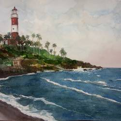 'light house', 12 x 8 inch, vinaya pravin,12x8inch,paper,paintings,landscape paintings,paintings for living room,paintings for office,paintings for hotel,watercolor,GAL02227134187