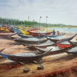 'canoes', 12 x 8 inch, vinaya pravin,12x8inch,paper,paintings,landscape paintings,paintings for living room,paintings for office,paintings for hotel,watercolor,GAL02227134188