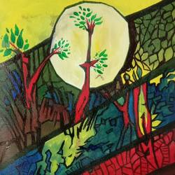 earth & tree, 16 x 12 inch, shiva kumar,16x12inch,handmade paper,paintings,nature paintings | scenery paintings,paintings for dining room,paintings for living room,paintings for bedroom,paintings for office,paintings for hotel,paintings for school,paintings for hospital,acrylic color,GAL02169534191