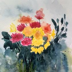 flower 2020_19, 8 x 11 inch, anamika s,8x11inch,paper,paintings,flower paintings,still life paintings,nature paintings | scenery paintings,paintings for dining room,paintings for living room,paintings for bedroom,paintings for office,paintings for bathroom,paintings for hotel,paintings for school,paintings for hospital,watercolor,GAL0414534198