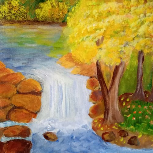 waterfall and rocks with different shrubs, 12 x 10 inch, reema pereira,12x10inch,canvas,paintings,landscape paintings,nature paintings | scenery paintings,paintings for dining room,paintings for living room,paintings for bedroom,acrylic color,oil color,GAL02172034199