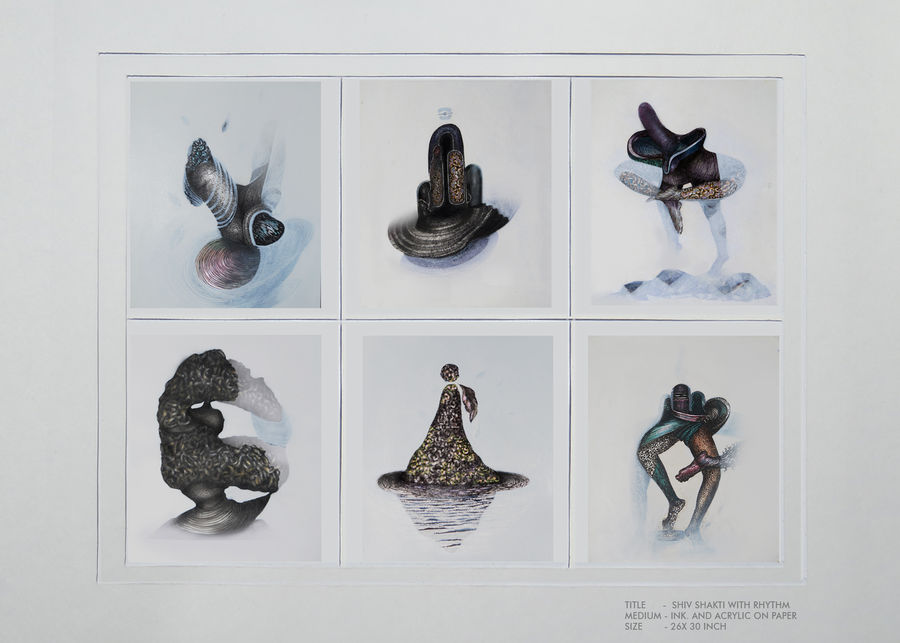 shiv shakti with rhythm, 32 x 18 inch, mukesh  tongaria,conceptual paintings,paintings for living room,thick paper,mixed media,32x18inch,GAL0142342