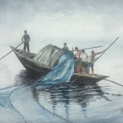 'hauling the net', 12 x 8 inch, vinaya pravin,12x8inch,paper,paintings,landscape paintings,paintings for living room,paintings for office,paintings for hotel,watercolor,GAL02227134240