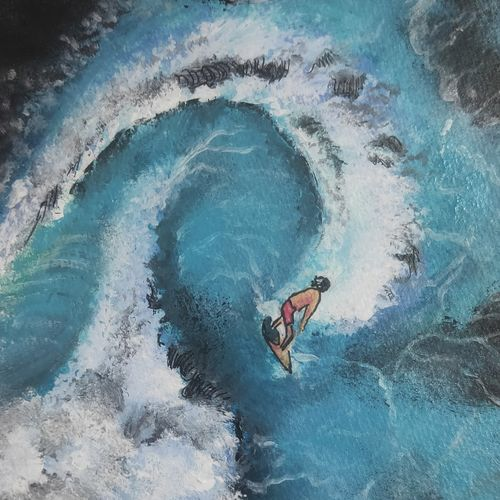 the surfer, 6 x 8 inch, soumyajit sanyal,6x8inch,thick paper,paintings,nature paintings | scenery paintings,surrealism paintings,paintings for dining room,paintings for living room,paintings for bedroom,paintings for office,paintings for bathroom,paintings for kids room,paintings for hotel,paintings for kitchen,paintings for school,paintings for hospital,acrylic color,paper,GAL02082634256